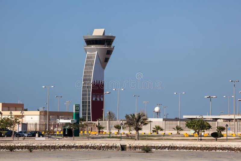 Control Tower of Bahrain Airport. MUHARRAQ, BAHRAIN - NOV 15: Control Tower of the Bahrain International Airport. November 15, 2015 in Muharraq, Kingdom of