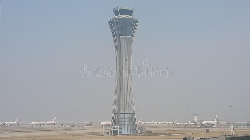 Control Tower of Beijing Capital International Airport royalty free stock images