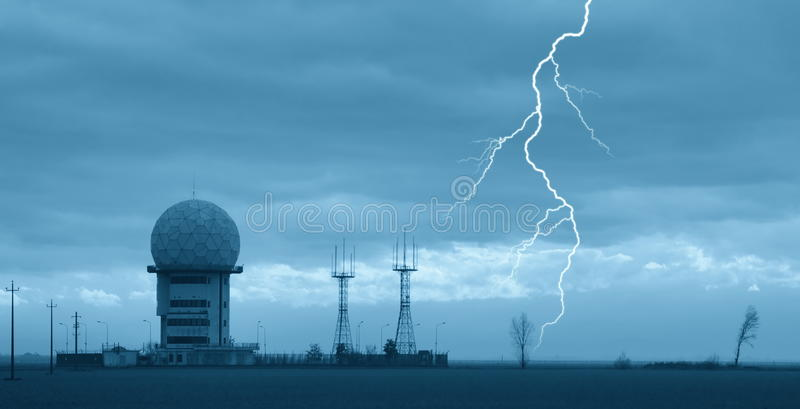 Control tower. In countryside with cloudy sky royalty free stock images