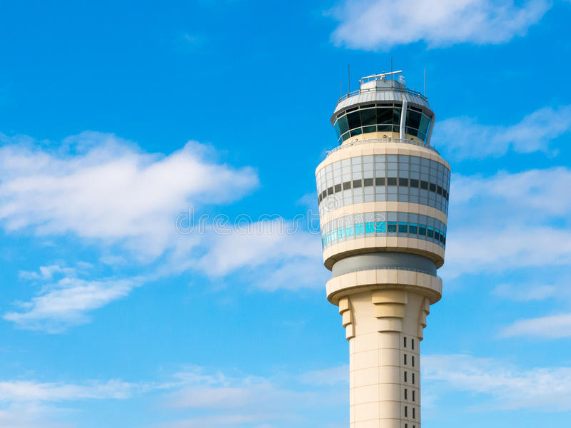 Control tower of Hartsfield Jackson airport, Atlanta, Georgia, U. Top of air traffic control tower at Hartsfield-Jackson international airport, Atlanta, Georgia royalty free stock photos
