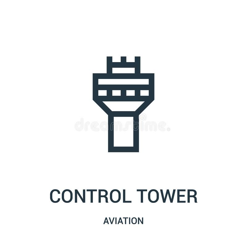 Control tower icon vector from aviation collection. Thin line control tower outline icon vector illustration. Linear symbol for. Use on web and mobile apps vector illustration