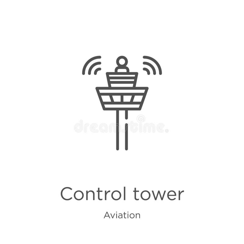 Control tower icon vector from aviation collection. Thin line control tower outline icon vector illustration. Outline, thin line. Control tower icon. Element of vector illustration