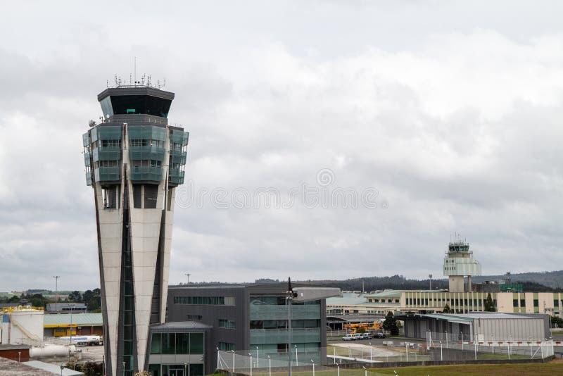 Control tower of Santiago de Compostela airport. Santiago de Compostela, Spain. April 19 2019: Control tower of Santiago de Compostela airport royalty free stock photo