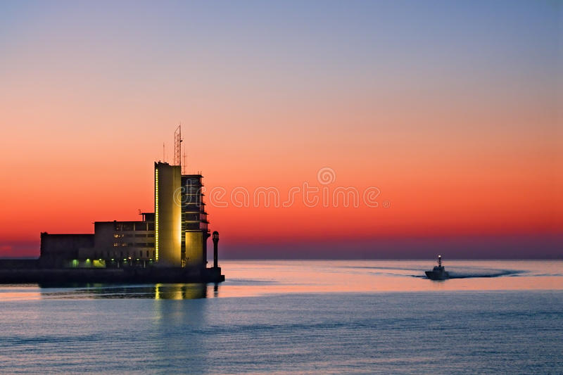 Control tower on sea. Controlling maritime traffic royalty free stock photo
