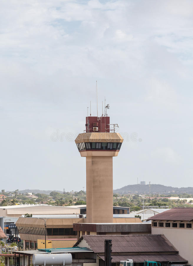 Control Tower at Small Airport Under Sky stock images