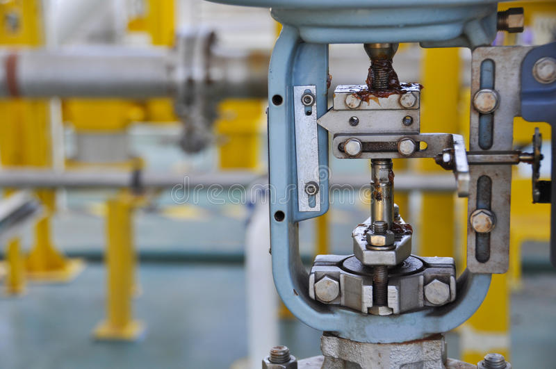 Control valve, Indicator for monitor position or status of valve function, pressure control valve or level control valve stock image