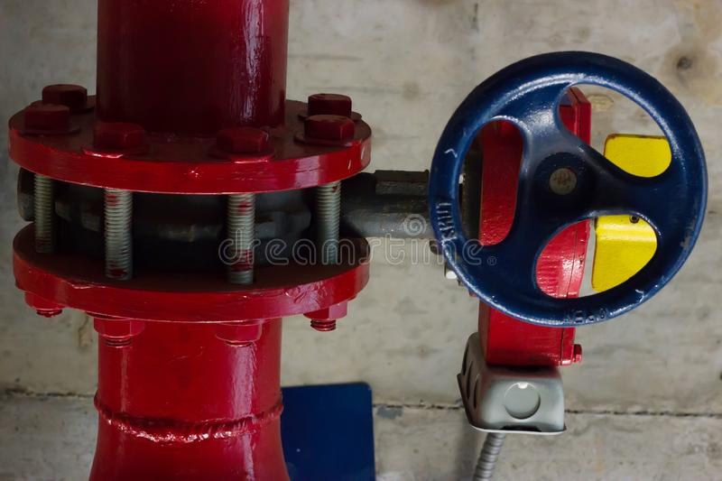 Control valves, Water pipe system. Installation of water pipes in the building royalty free stock photos