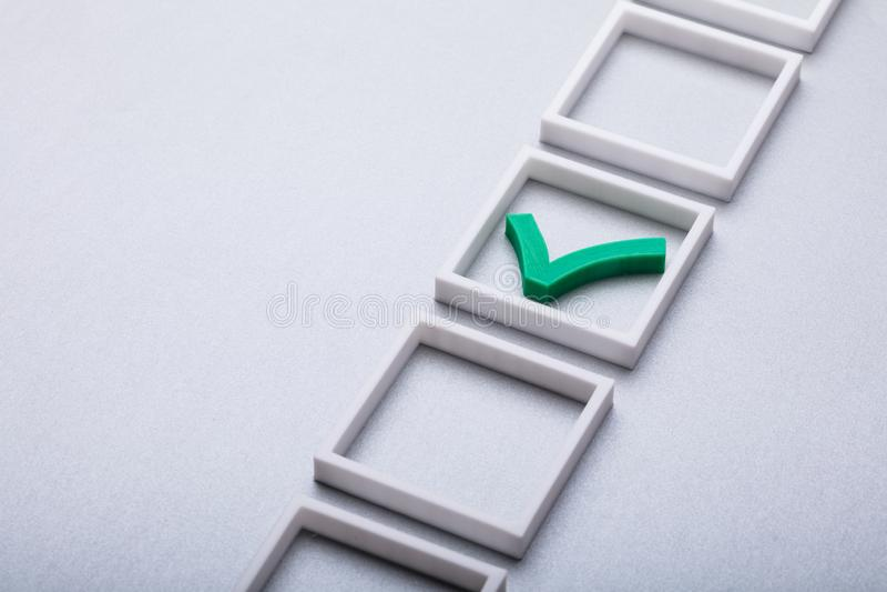 Control verde Mark In Checkbox fotos de archivo libres de regalías