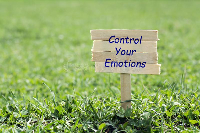 Control your emotions. Wooden sign in grass,blur background stock images