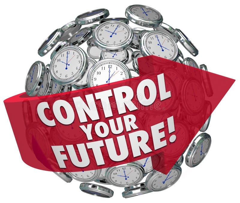 Control Your Future Words Clocks Ticking Forward Progress stock illustration