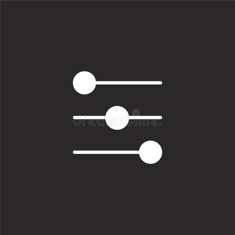 Controla el icono Icono llenado de los controles para el diseño y el móvil, desarrollo de la página web del app icono de los cont libre illustration