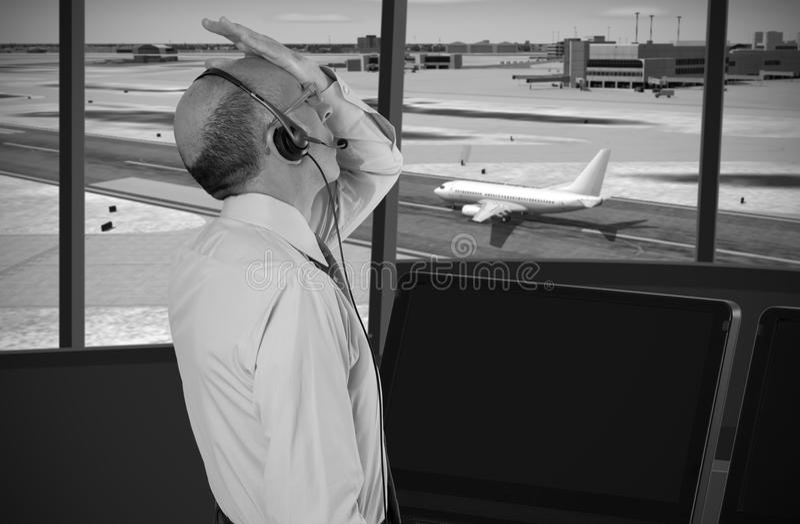 Controlador aéreo no trabalho fotos de stock royalty free
