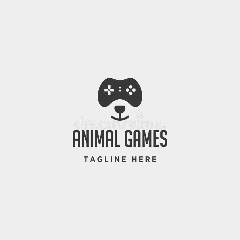 controlador animal do conceito do molde do projeto do logotipo do jogo do urso ilustração stock