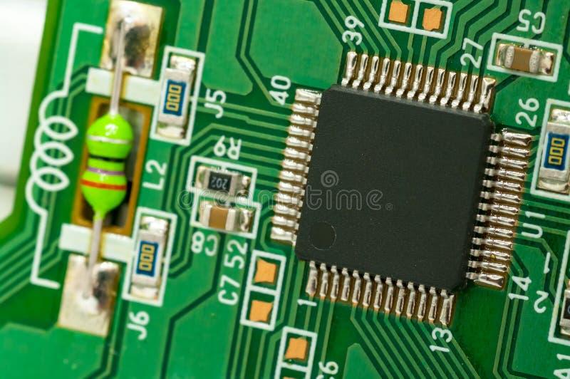 controlador da ?nico-microplaqueta na placa de circuito foto de stock royalty free