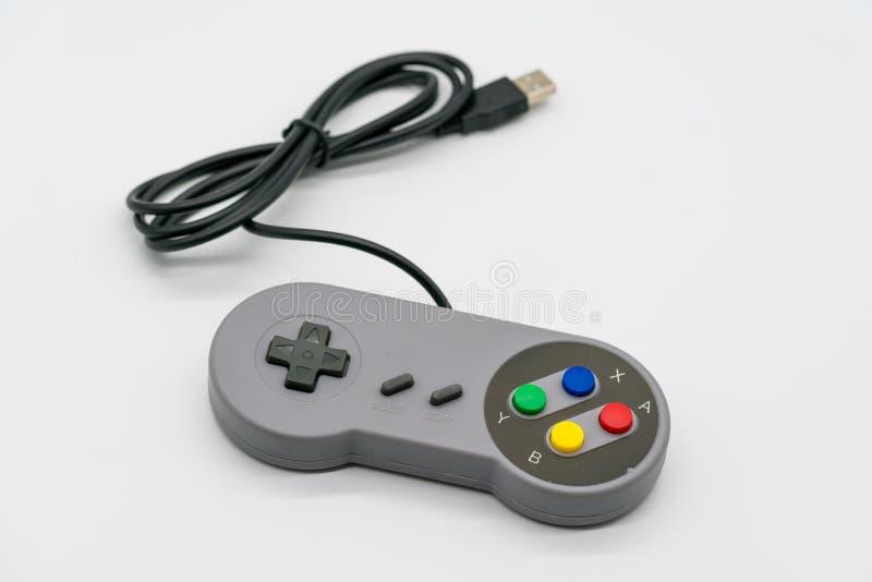 Controlador de USB do manche do jogo de computador isolado no branco foto de stock royalty free