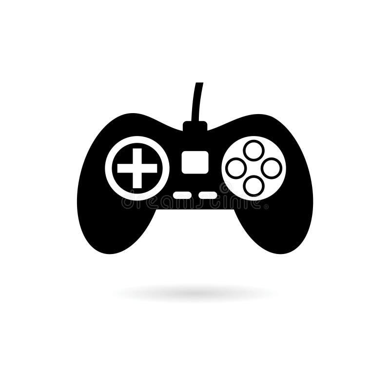 Controlador do jogo de vídeo ou ícone ou logotipo preto do gamepad ilustração royalty free