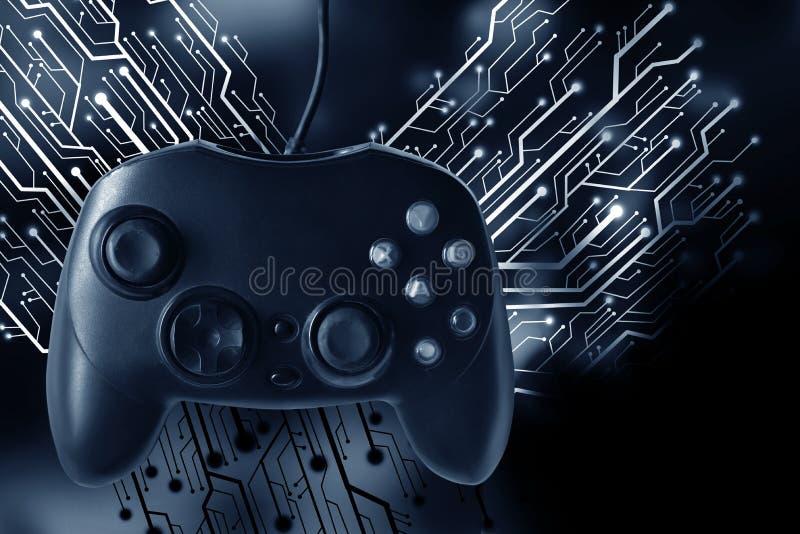 Controlador do manche do jogo com o gráfico da placa de circuito foto de stock royalty free