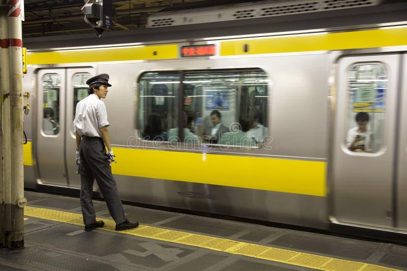 Controlador do trem no Tóquio foto de stock