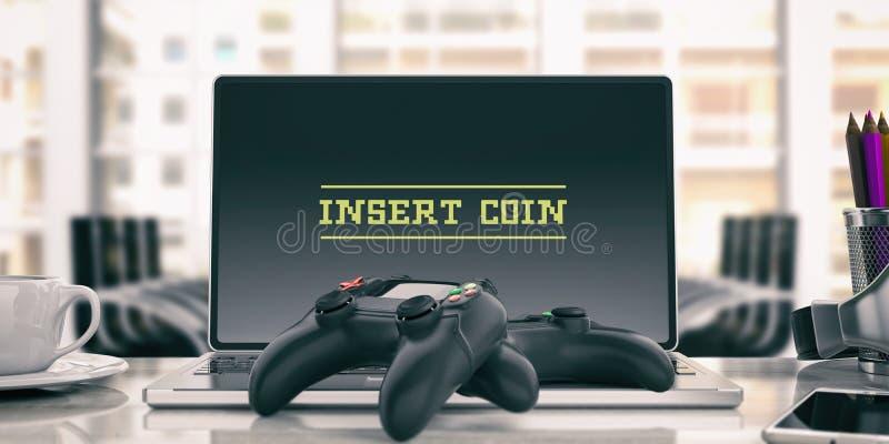 Controlador dos jogos de vídeo - introduza uma moeda no computador ilustração 3D ilustração royalty free