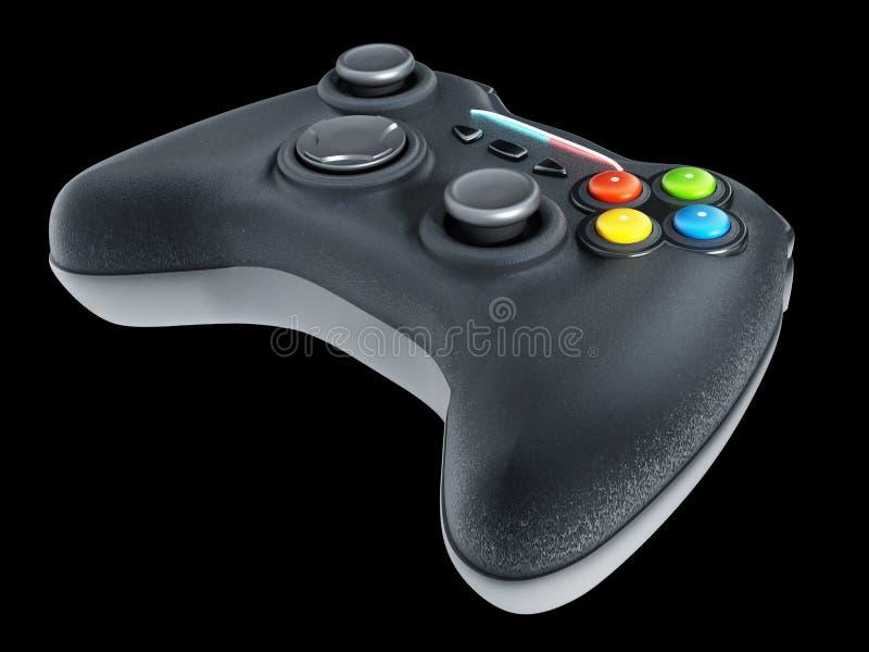 Controlador genérico do jogo isolado no fundo preto ilustração 3D ilustração do vetor