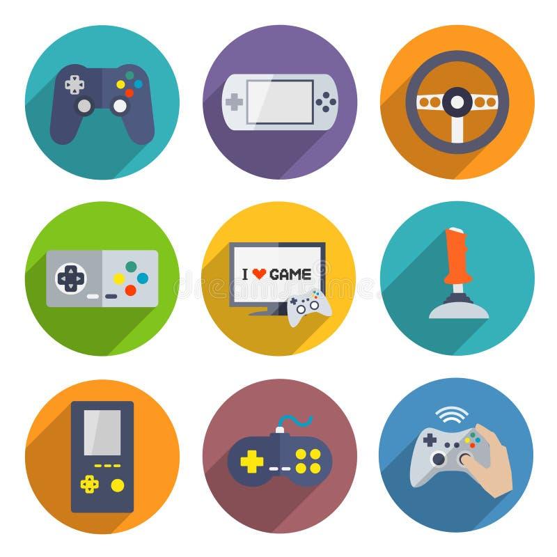 Controlador Icons Set dos jogos de vídeo ilustração stock
