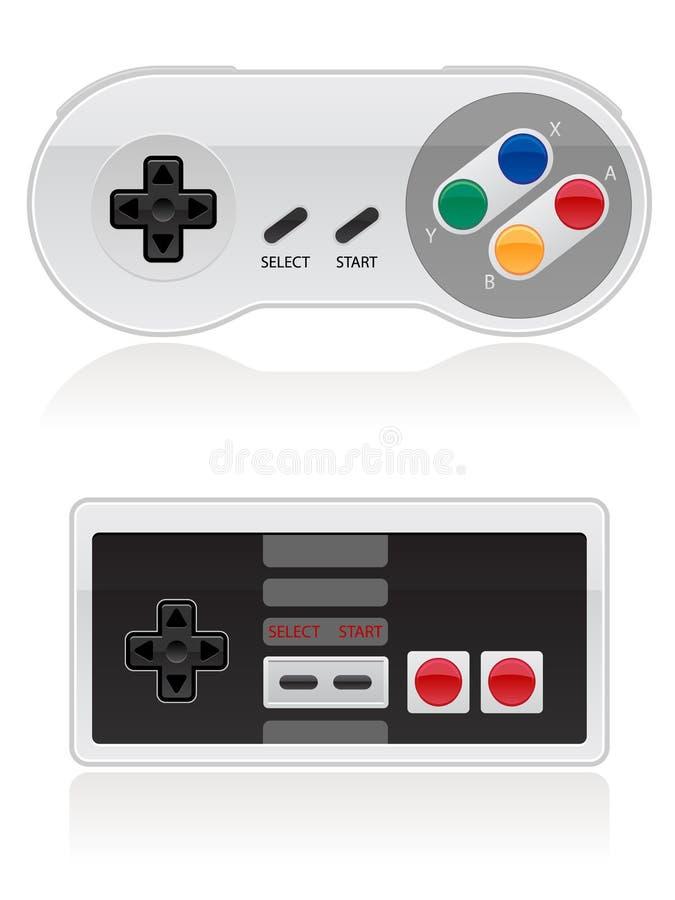 Controlador retro do jogo video ilustração do vetor