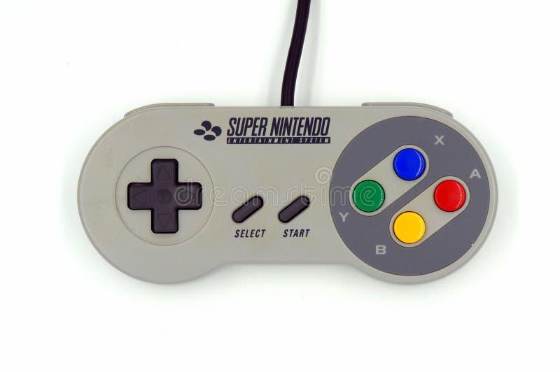 Controlador super do jogo de Nintendo SNES fotos de stock royalty free