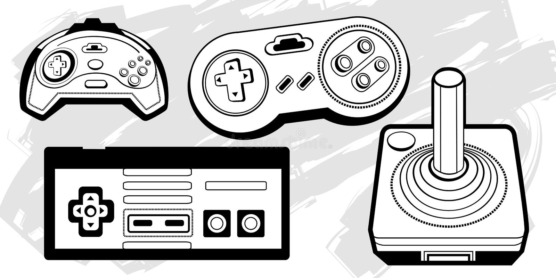 Controladores retros do jogo ilustração do vetor