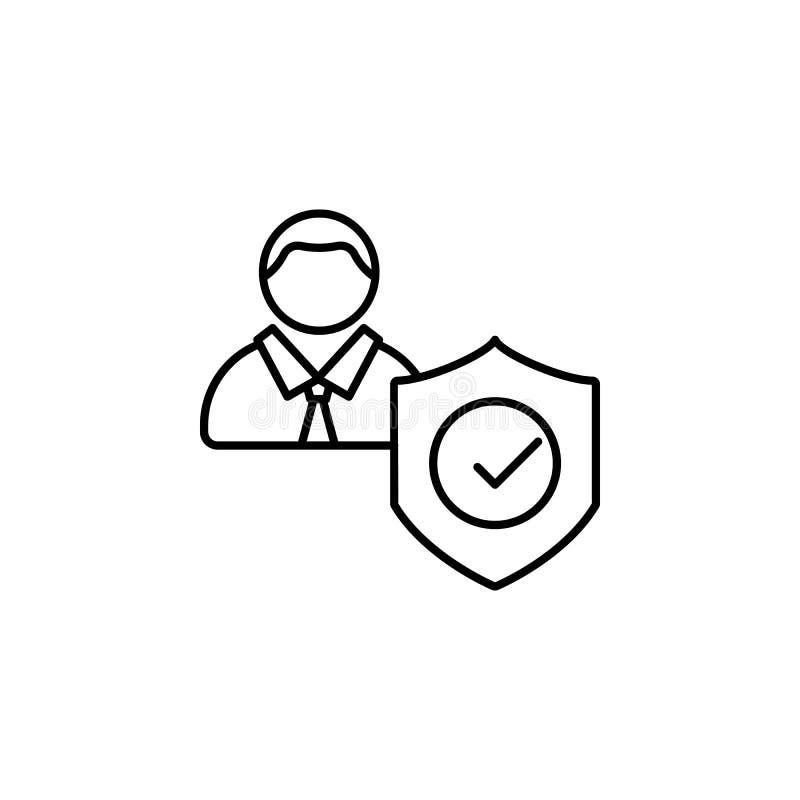 Controle, ambtenarenpictogram Element van het algemene pictogram van het gegevensproject voor mobiel concept en Web apps De dunne royalty-vrije illustratie