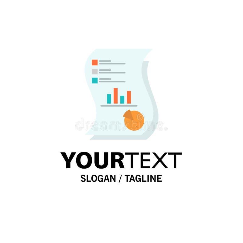 Controle, Analytics, Zaken, Gegevens, Marketing, Document, Rapportzaken Logo Template vlakke kleur stock illustratie