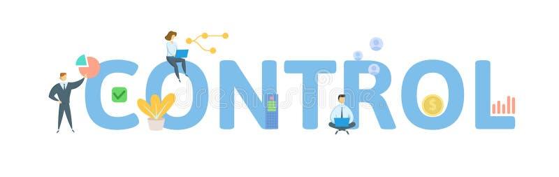 controle Concept met mensen, brieven en pictogrammen Vlakke vectorillustratie Ge?soleerdj op witte achtergrond royalty-vrije illustratie