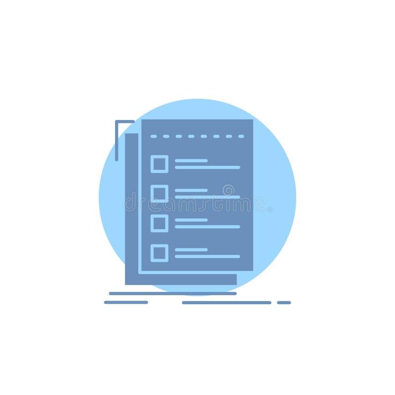 Controle, controlelijst, lijst, taak, om Glyph-Pictogram te doen royalty-vrije illustratie