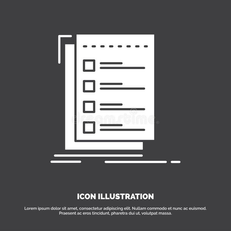 Controle, controlelijst, lijst, taak, om Pictogram te doen glyph vectorsymbool voor UI en UX, website of mobiele toepassing royalty-vrije illustratie