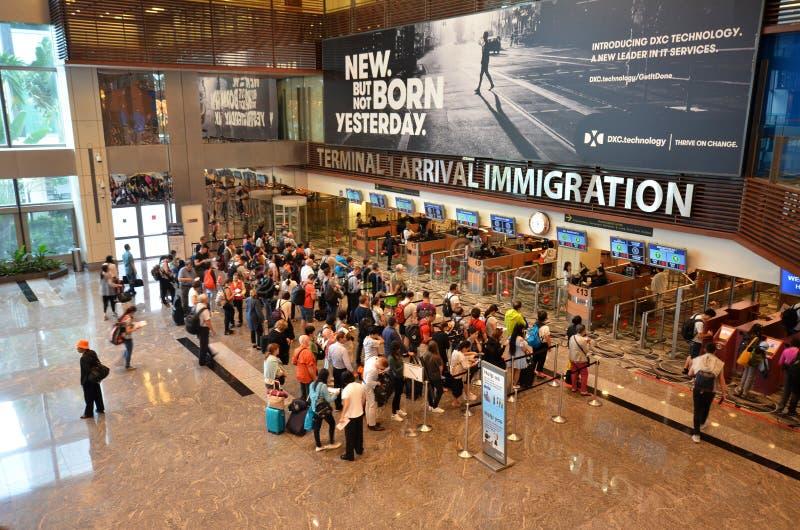 Controle da imigração no aeroporto internacional de Changi fotografia de stock royalty free