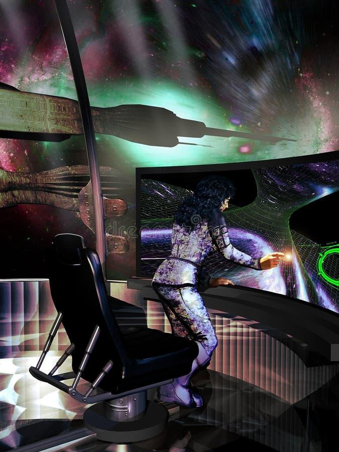 Controle da nave espacial ilustração do vetor