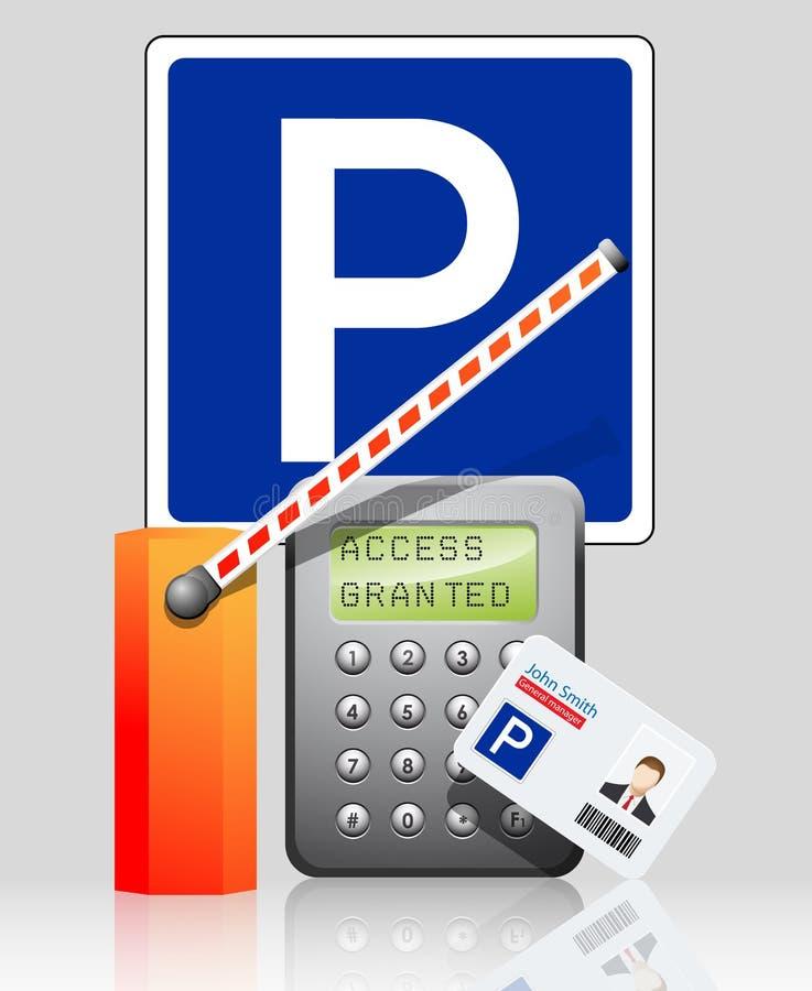 Controle de acesso - alcance concedido ao estacionamento ilustração stock