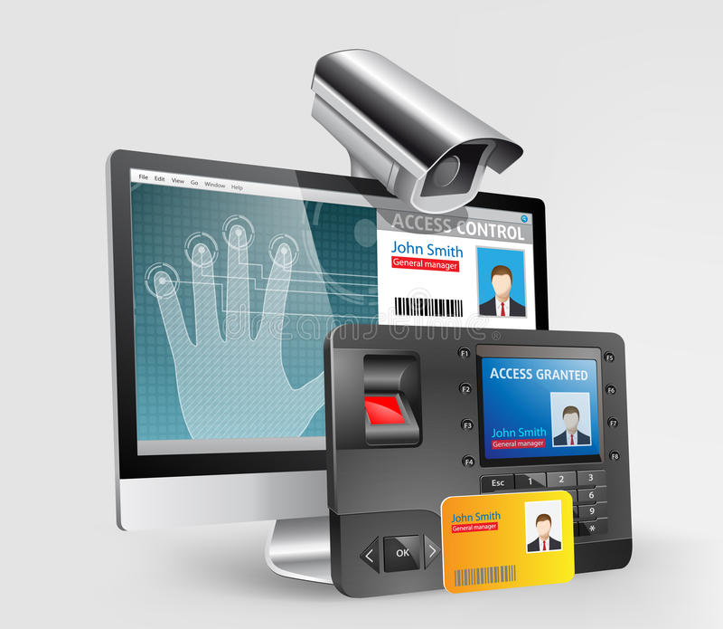Controle de acesso - varredor da impressão digital ilustração stock