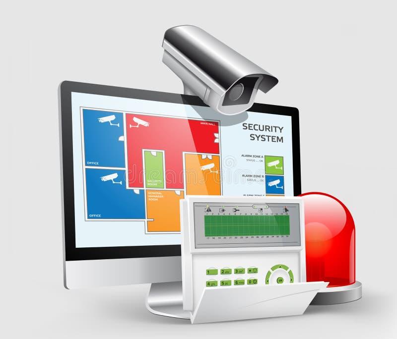 Controle de acesso - zonas 1 do alarme ilustração royalty free