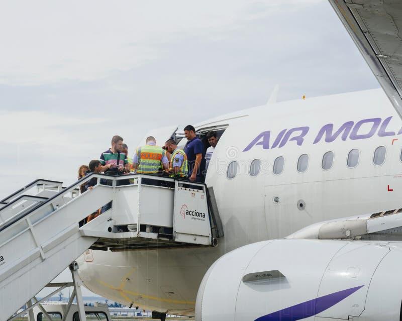Controle de alfândega da polícia de Airstair de aviões de Air Moldova em Frank imagens de stock