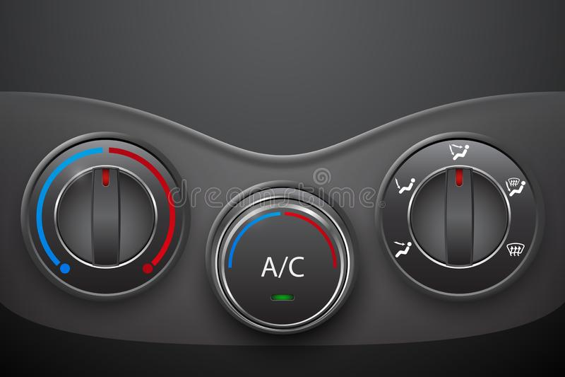 Controle do clima do carro com o botão da condição do ar ilustração do vetor
