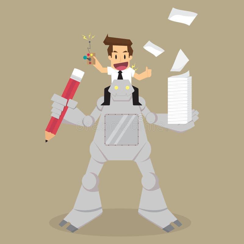 Controle do homem de negócios o trabalho assistente do robô ilustração stock