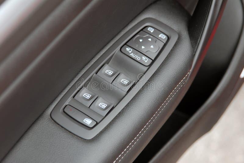 Controle do interruptor do espelho do botão e do lado da janela fotografia de stock