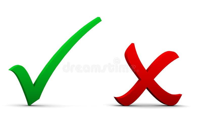 Controle en dwarstekens vector illustratie