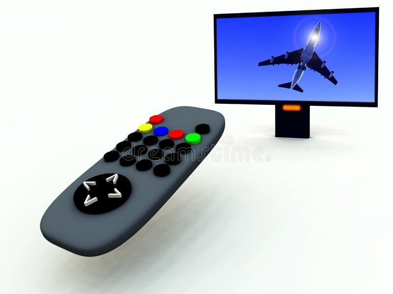 Controle en TV 3 van TV royalty-vrije illustratie