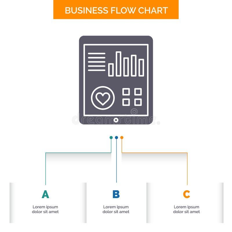 controle, gezondheid, hart, impuls, het Geduldige Ontwerp Rapport van de Bedrijfsstroomgrafiek met 3 Stappen Glyphpictogram voor  vector illustratie