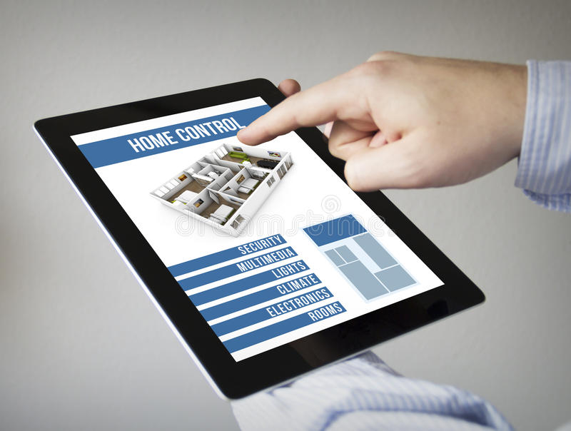 Controle home app em uma tabuleta ilustração do vetor