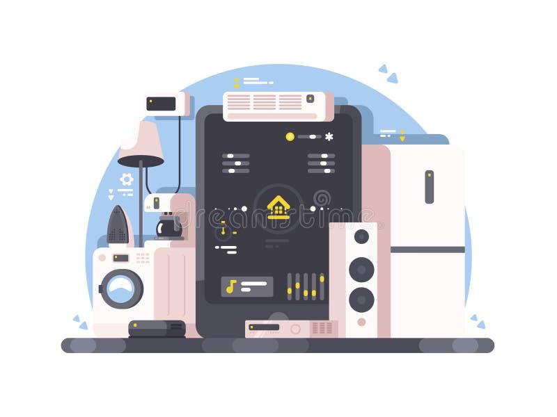 Controle home esperto usando a tabuleta ilustração do vetor