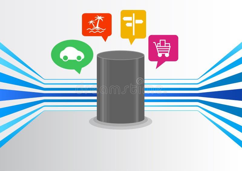 Controle la inteligencia artificial vía el dispositivo audio para el hogar elegante con tecnología automática del reconocimiento  stock de ilustración