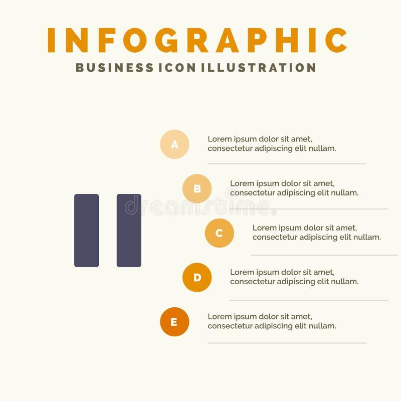 Controle, Media, Pauze, Video Stevig Pictogram Infographics 5 de Achtergrond van de Stappenpresentatie royalty-vrije illustratie