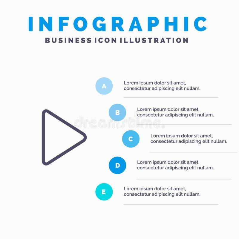 Controle, meio, jogo, linha video ícone com fundo do infographics da apresentação de 5 etapas ilustração do vetor